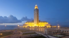 Hassan II Mosque, Casablanca, Morocco, North Africa, T/Lapse Stock Footage