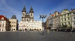 Stare Mesto Square looking towards the Gothic Tyn Church, Prague, T/Lapse Stock Footage