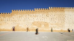 Medieval ramparts of the Old City, Fez, Morocco, North Africa, T/Lapse Stock Footage