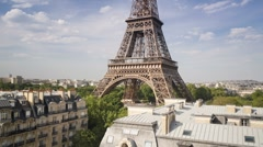 Eiffel Tower in natural light, Paris, France, Europe, T/Lapse Stock Footage