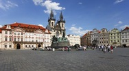 Stock Video Footage of Stare Mesto Square looking towards the Gothic Tyn Church, Prague, T/Lapse