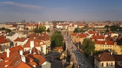 Charles Bridge (Karluv Most) Old town, Prague, Czech Republic, T/Lapse Stock Footage