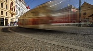 Stock Video Footage of Prague City centre with its Red Trams, Czech Republic, Europe, T/Lapse