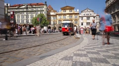 Prague City centre with its famous Red Trams, Czech Republic, Europe, T/Lapse Stock Footage