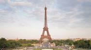 Stock Video Footage of Eiffel Tower in natural light, Paris, France, Europe, T/Lapse
