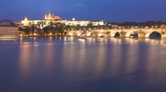 Stock Video Footage of Vlatava river, Old Town Illuminated Prague, UNESCO World Heritage Site, T/Lapse