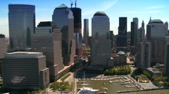 Aerial view of Midtown Manhattan, along the Hudson River, NY, USA Stock Footage