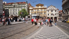 Prague City centre with its Red Trams, Czech Republic, Europe, T/Lapse Stock Footage