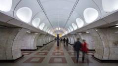 Modern Underground Station in Prague, Czech Republic, Europe, T/Lapse Stock Footage