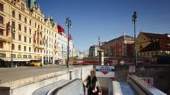 Escalator to the Metro, Prague, Czech Republic, Europe, T/Lapse Stock Footage