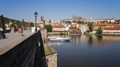 Pleasure boats on the River Vitava, Charles Bridge, Prague, T/Lapse Stock Footage