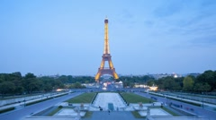 Eiffel Tower in natural and Illuminated light, Paris, France, Europe, T/Lapse Stock Footage