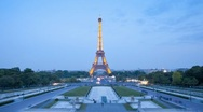 Stock Video Footage of Eiffel Tower in natural and Illuminated light, Paris, France, Europe, T/Lapse