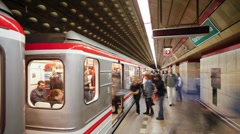 Train arriving at a Modern Underground Station in Prague, T/Lapse Stock Footage