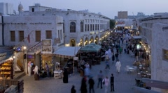 Souq Waqif, restored Old town district, Qatar, T/Lapse Stock Footage
