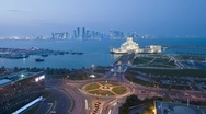 Dusk to night levated view over the Museum of Islamic Art, Qatar, T/Lapse Stock Footage