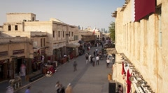 Souq Waqif rendered shops and exposed timber beams, Doha, Qatar, T/Lapse - stock footage