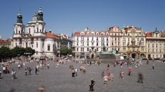 John Huss (Jan Hus) Memorial, Old Town Square, Prague, T/Lapse Stock Footage