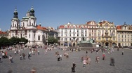 Stock Video Footage of John Huss (Jan Hus) Memorial, Old Town Square, Prague, T/Lapse
