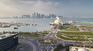 Elevated view over the Museum of Islamic Art, Dhow harbour, Qatar, T/Lapse Stock Footage