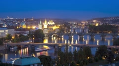 Bridges of Prague Including the famous Charles Bridge, Czech Republic, T/Lapse - stock footage