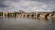 Stock Video Footage of Charles Bridge over the River Vitava, Czech Republic, Europe, T/Lapse