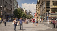 Prague City centre with its old historic buildings, Czech Republic, T/Lapse - stock footage
