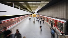 Modern Underground Station in Prague, Czech Republic, Europe, T/Lapse - stock footage