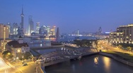 Stock Video Footage of Suzhou Creek, Waibaidu (Garden) Bridge, illuminated, Shanghai, T/Lapse