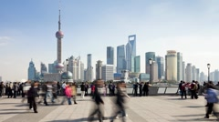 New Pudong skyline, looking across the Huangpu River, Shanghai, T/Lapse - stock footage