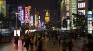 Stock Video Footage of Pedestrians walking past Illuminated stores on Nanjing Road, Shanghai, T/Lapse