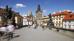 Charles Bridge (Karluv Most) Prague, Czech Republic, T/Lapse - stock footage
