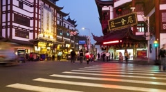 Yuyuan Bazaar district at night, Shanghai, China, Asia, T/Lapse Stock Footage
