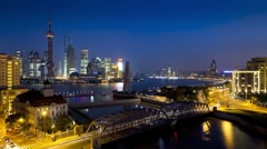 Suzhou Creek, Waibaidu (Garden) Bridge, illuminated, Shanghai, T/Lapse Stock Footage