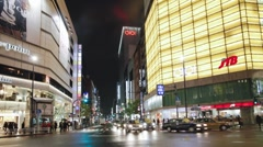 POV Streets at night seen from driving car, Shinjuku Ward, Tokyo, T/Lapse Stock Footage