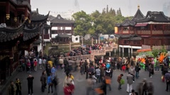 Nine-turn zig-zag bridge at Yuyuan Bazaar, Shanghai, T/Lapse Stock Footage