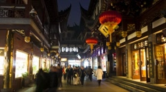 Yuyuan Bazaar district at night, Shanghai, China, Asia, T/Lapse - stock footage