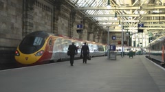 Boarding The British Virgin Rail Train Glasgow Station Stock Footage