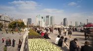 Stock Video Footage of People on promenade, Huangpu waterfront, Bund, Shanghai, China, T/Lapse