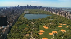 Aerial view of Central Park and Downtown Manhattan, New York, USA - stock footage