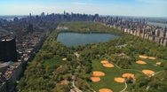 Aerial view of Central Park and Downtown Manhattan, New York, USA Stock Footage