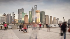 Promenade along the Bund, by the Huangpu waterfront, Shanghai, T/Lapse Stock Footage
