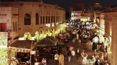 The restored Souq Waqif with mud rendered shops, Doha, Qatar, T/Lapse Stock Footage