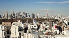 Shinjuku skyline viewed from Shibuya, Tokyo, Honshu, Japan, Asia Stock Footage