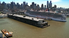 Aerial view of a Cruise Liner in the Hudson River, New York, USA Stock Footage