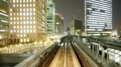 Elevated train ride across the Rainbow Bridge, Tokyo, Japan, T/Lapse - stock footage
