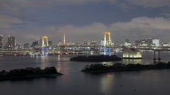 Rainbow Bridge and Tokyo Bay, with the Tokyo Tower, Japan, Asia, T/Lapse - stock footage