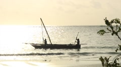 Traditional African Fishing Boats against sunrise on Zanzibar. Stock Footage