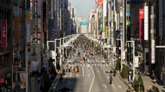 Elevated view along Chuo-dori, a fashionable shopping street, Tokyo, T/Lapse Stock Footage
