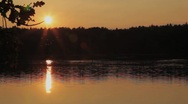 Sunset by lake Stock Footage